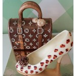Chocolate high heels and bag 1